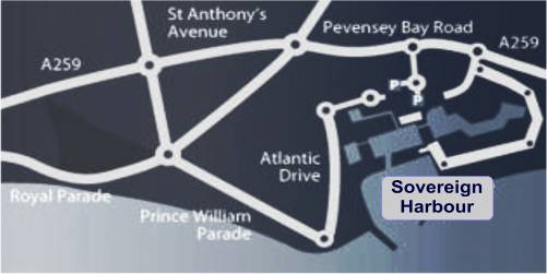 Sovereign Harbour Map how to get there from Eastbourne
